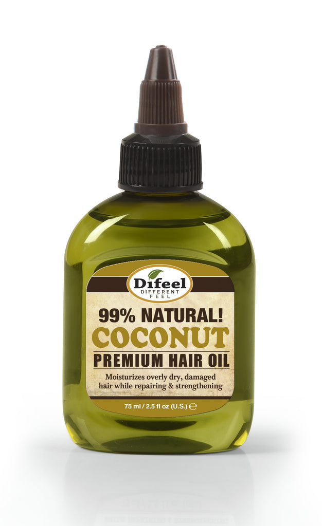Difeel Premium Natural Hair Oil - Coconut Oil 2.5 oz. (PACK OF 2)