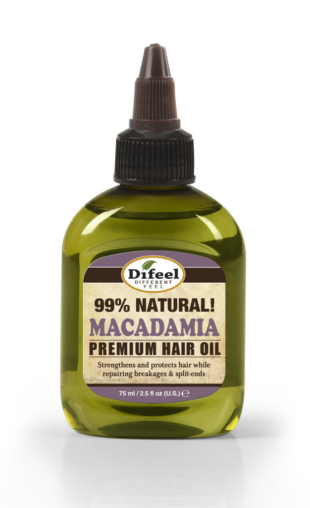 Difeel Premium Natural Hair Oil - Macadamia Oil 2.5 oz. (PACK OF 2)