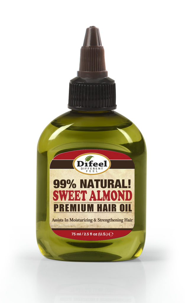Difeel Premium Natural Hair Oil - Sweet Almond Oil 2.5 oz. (PACK OF 2)
