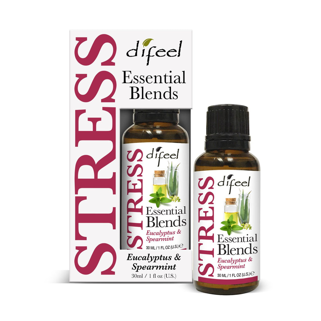 Difeel 100% Natural Essential Oil Blends - Stress 1 oz.  (Pack of 2)