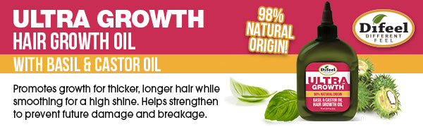 Difeel Ultra Growth with Basil & Castor Oil- Large 33.8oz Shampoo, 33.8oz Conditioner AND 8oz Hair Oil