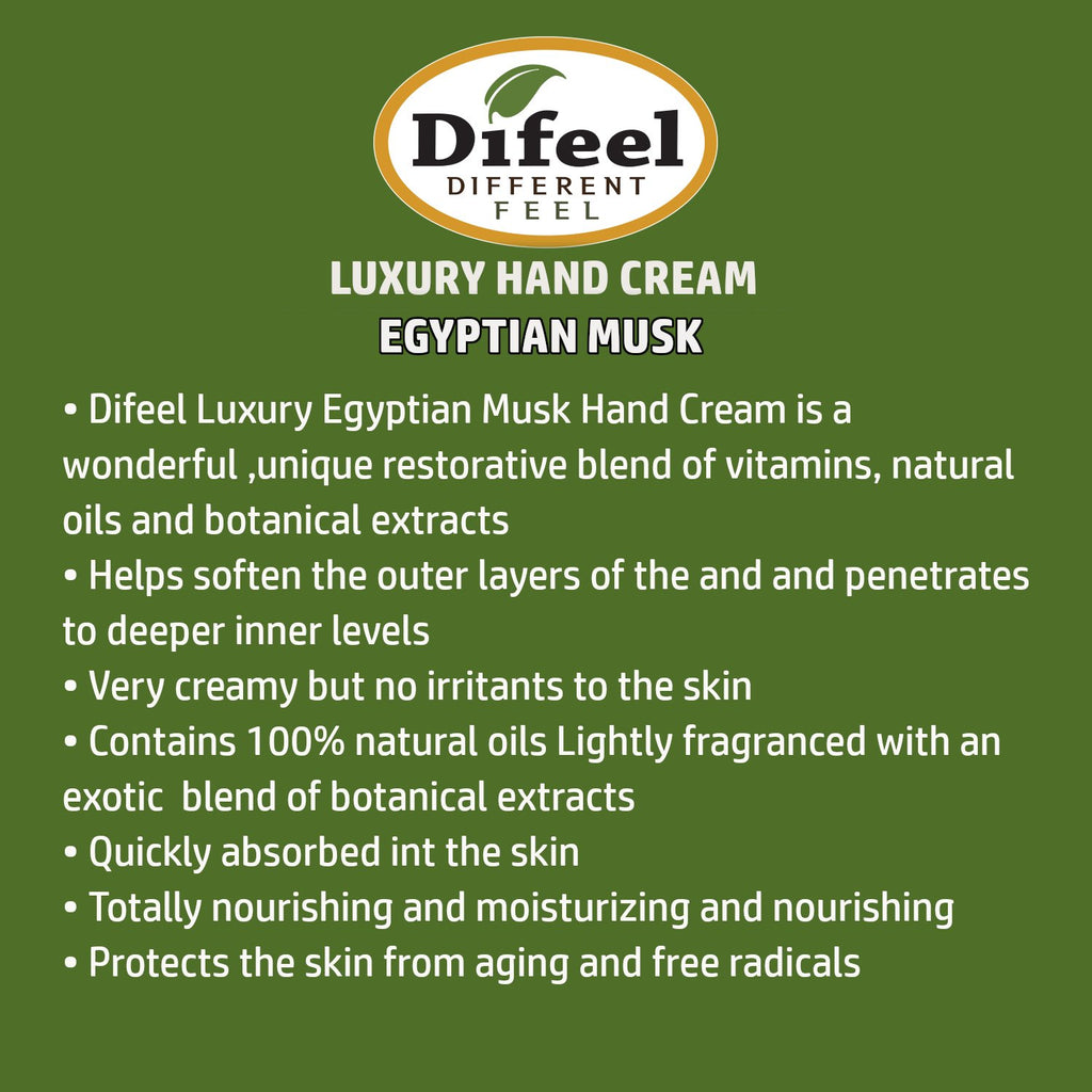 Difeel Luxury Moisturizing Hand Cream - Egyptian Musk 1.4 oz. (PACK OF 2)