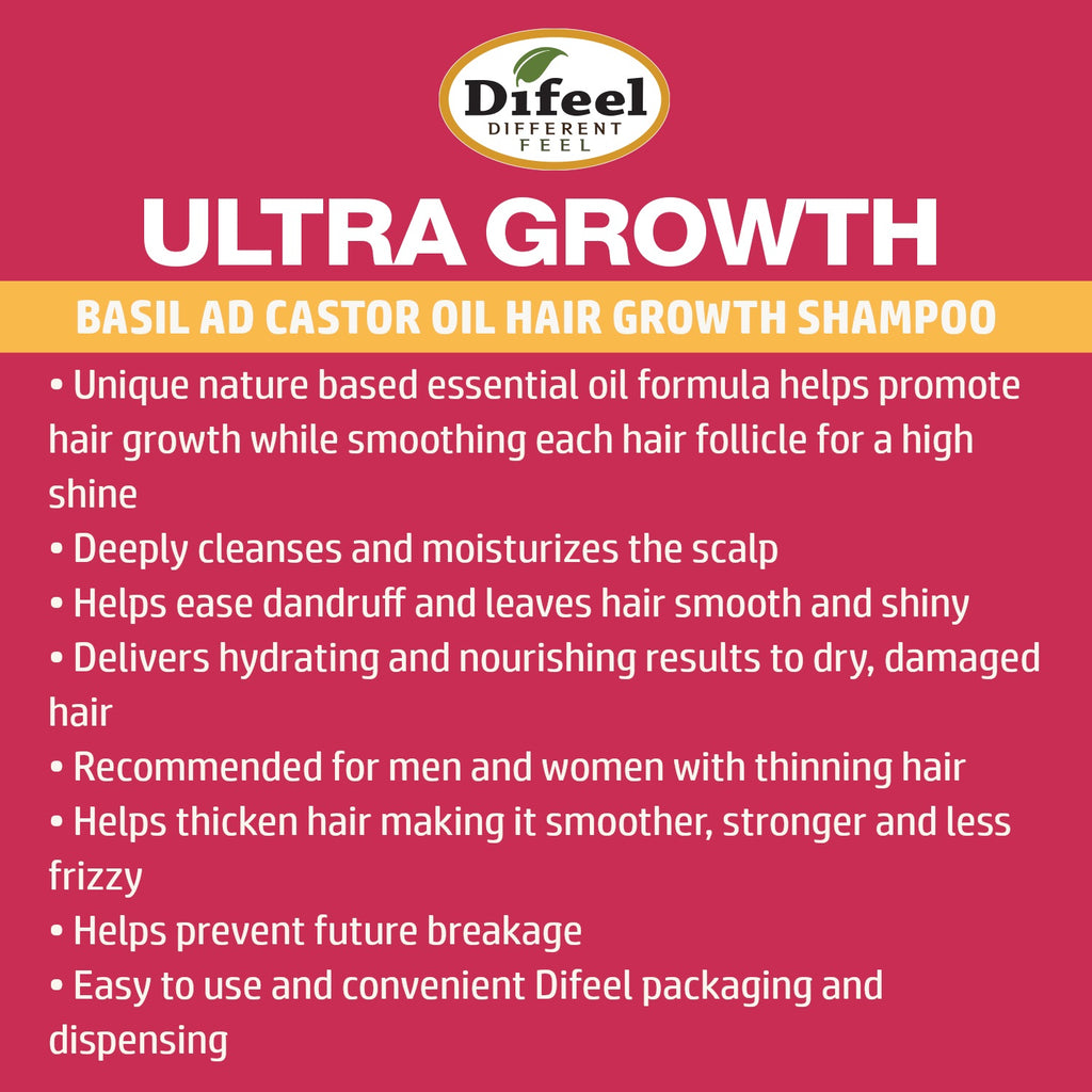 Difeel Ultra Growth Basil & Castor Oil Pro Growth Shampoo 33.8 oz.