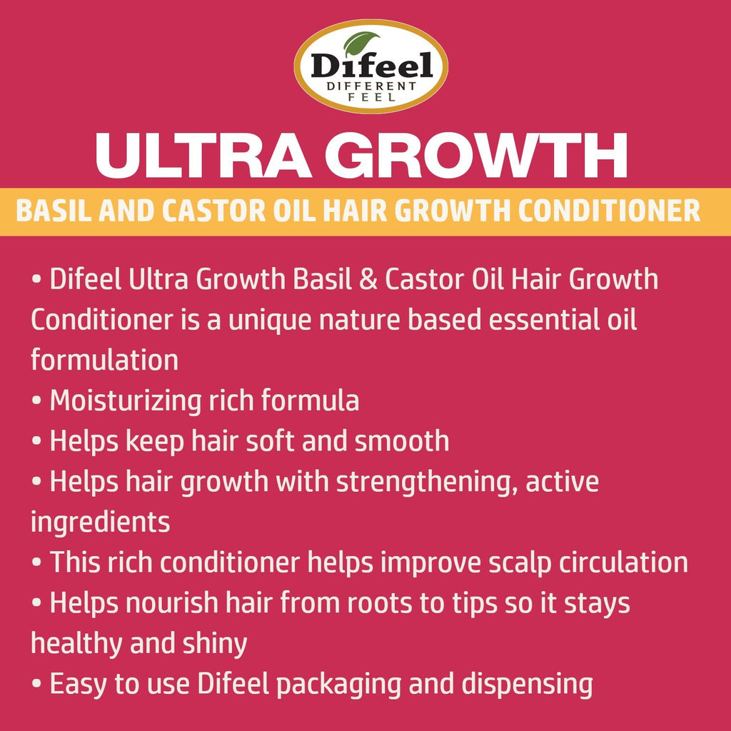 Difeel Ultra Growth Basil & Castor Oil Pro Growth Conditioner 12 oz. (Pack of 2)