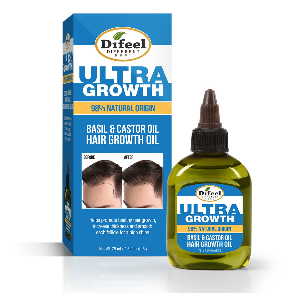 Difeel MENS Ultra Growth Basil & Castor Hair Growth Oil 2.5 fl. oz. (PACK OF 2)