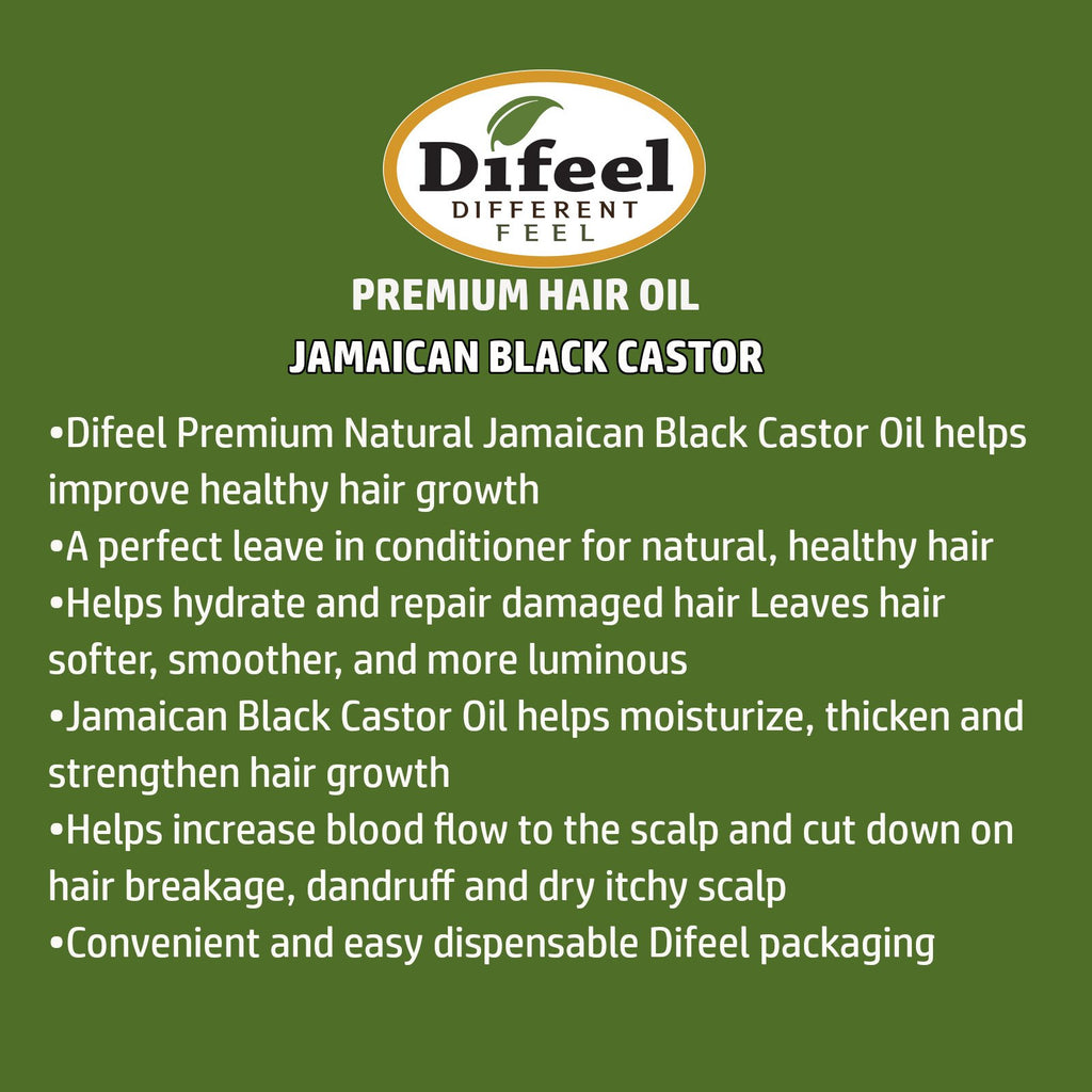 Difeel 99% Natural Premium Hair Oil - Jamaican Black Castor Oil 2.5 oz. (PACK OF 2)