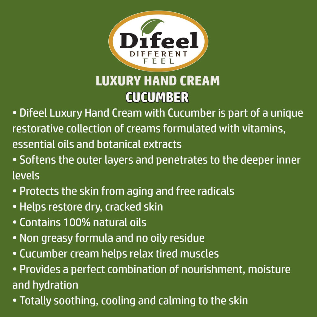 Difeel Luxury Moisturizing Hand Cream - Cucumber Melon 1.4 oz. (PACK OF 2)