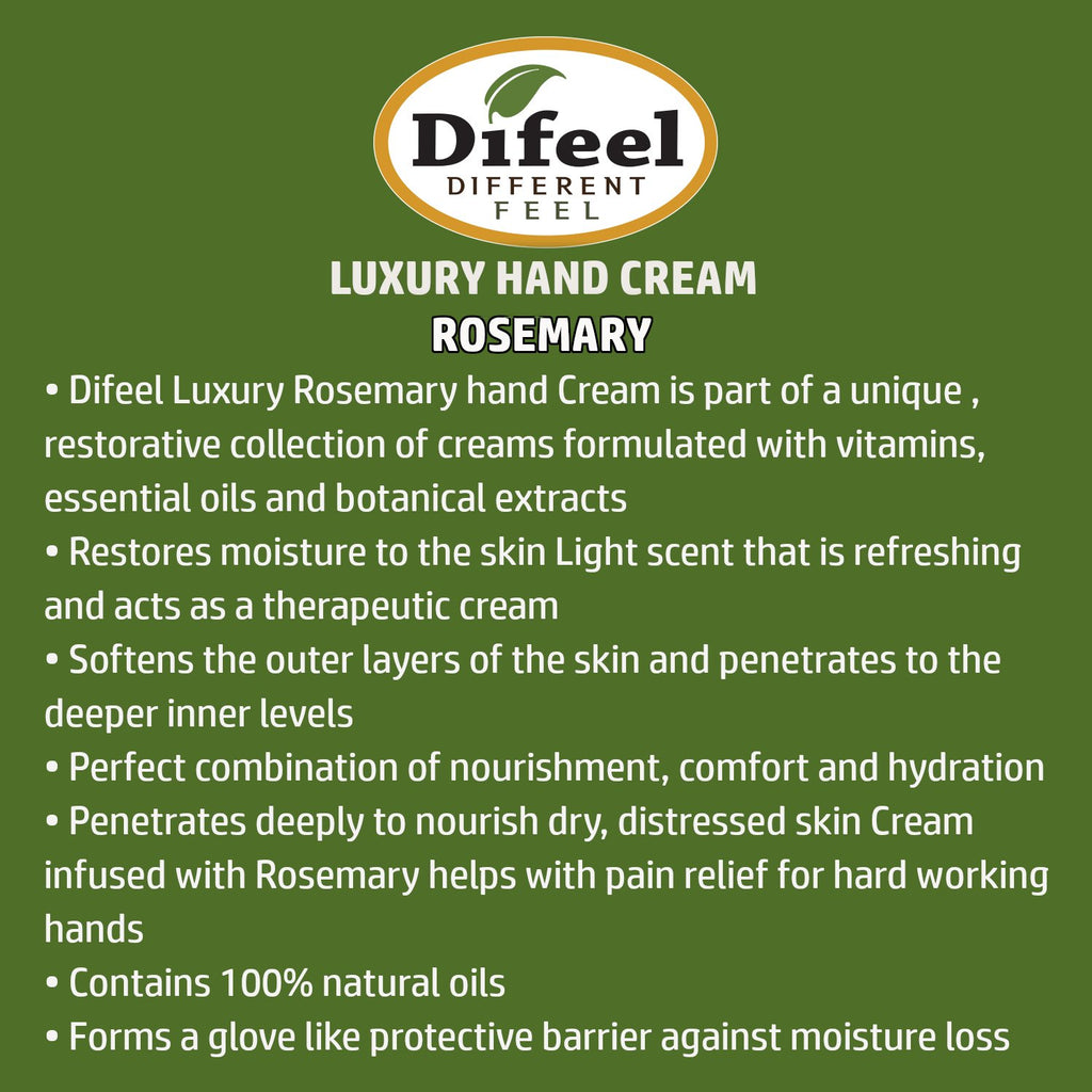 Difeel Luxury Moisturizing Hand Cream - Rosemary 1.4 oz. (PACK OF 2)