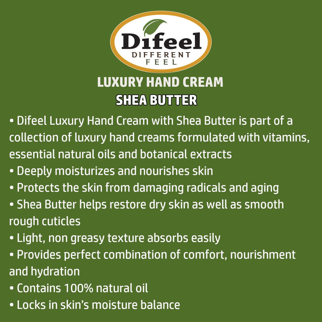 Difeel Luxury Moisturizing Hand Cream - Shea Butter 1.4 oz. (PACK OF 2)