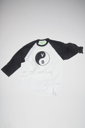 YIN YANG BASEBALL T-SHIRT / WHITE-BLACK