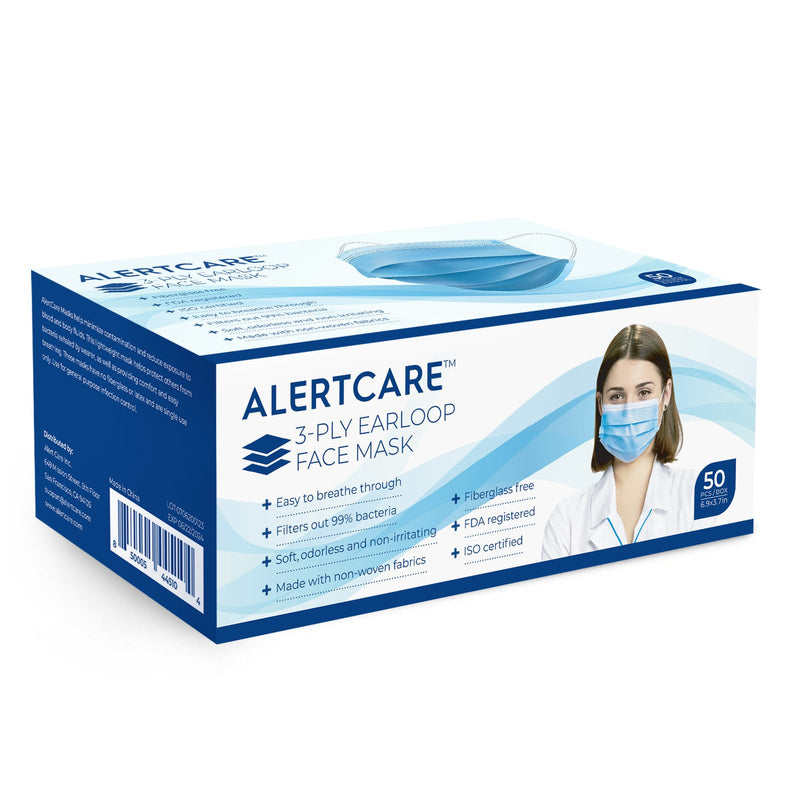 AlertCare 3-ply Earloop Face Mask Blue (50 Pack)