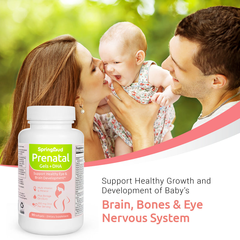 SpringBud Prenatal Vitamins Gels with DHA-90 Softgels