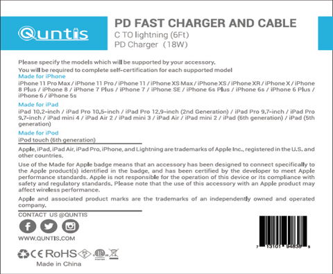 Quntis pd fact charger and cable