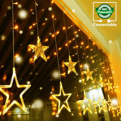 138LEDs 12 Star Curtain Lights
