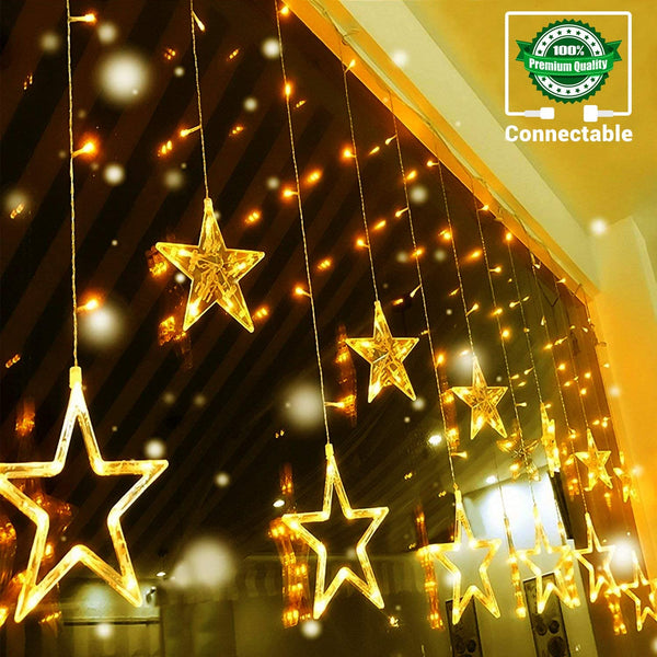 Quntis 138LEDs 12 Star Curtain Lights, Connectable 6.5ft Christmas Window Lights with 8 Flashing Modes, Curtain Fairy Lights for Indoor Outdoor Bedroom Wall Wedding Halloween Decoration, Warm White