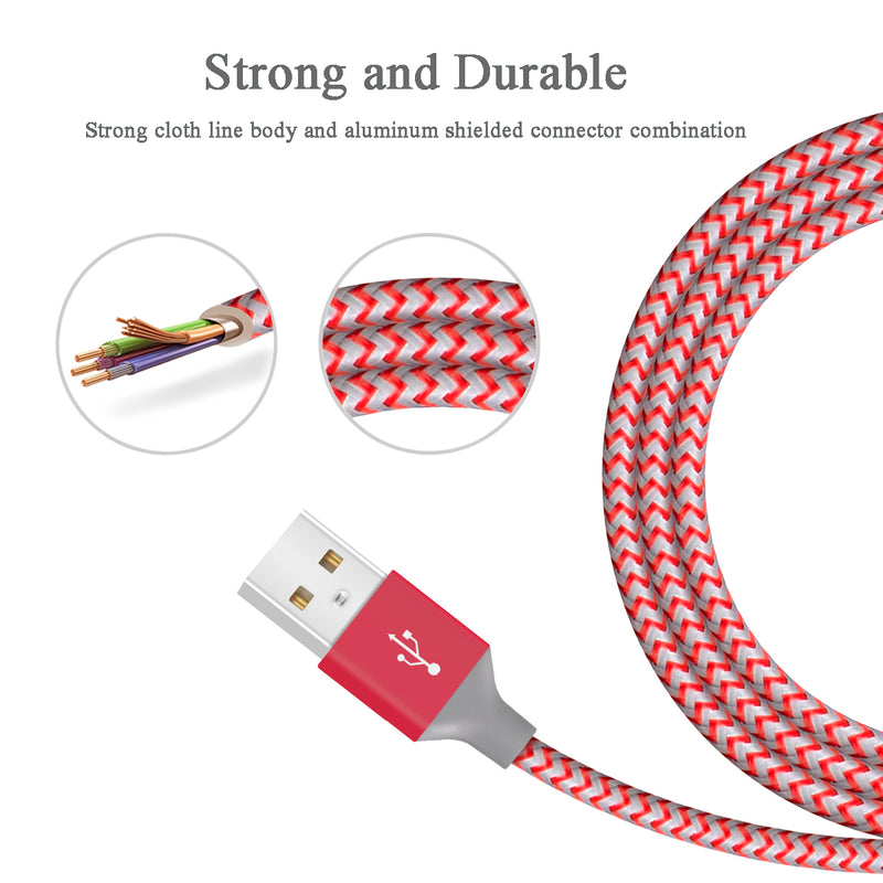 Quntis 2Pack 6ft Nylon Braided iphone Lightning Cable (Red) , , Quntis- quntis-service
