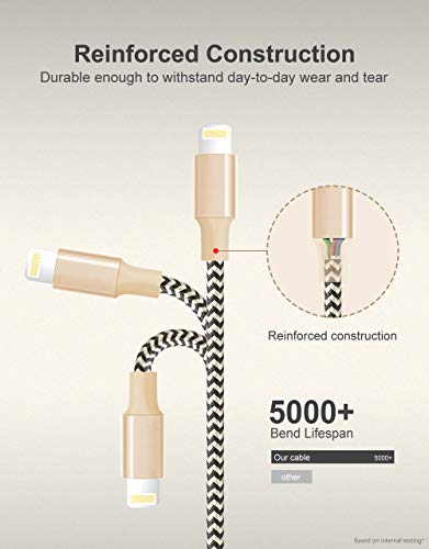 MFI Certified Lightning Cable 3 Pack 6FT