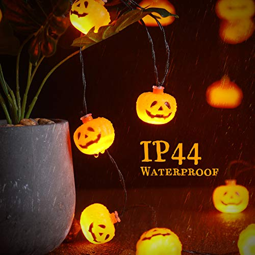 Novtech Halloween String Lights 11.4FT 20 LED Pumpkin Lights - Batteries Powered Halloween Party Decoration Lights - Spooky Halloween Decorative Lights for Party Patio with 8Modes