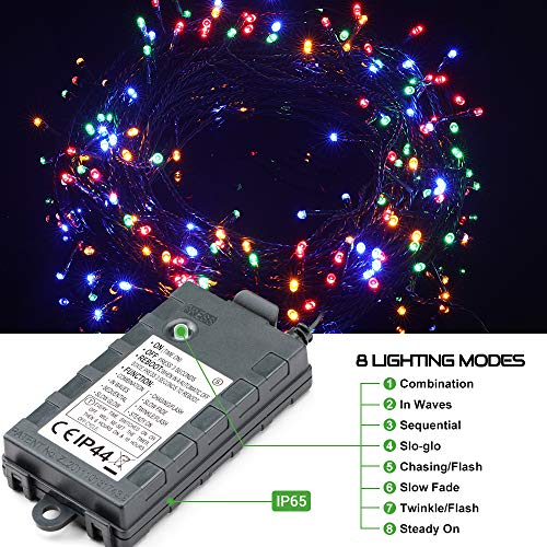 LED String Lights Battery Operated with Timer Function, 132FT 300 LED Waterproof Christmas Decoration Lights Colorful Fairy Lights 8 Modes for Home Garden Wedding Party Xmas Tree, UL588 Approved