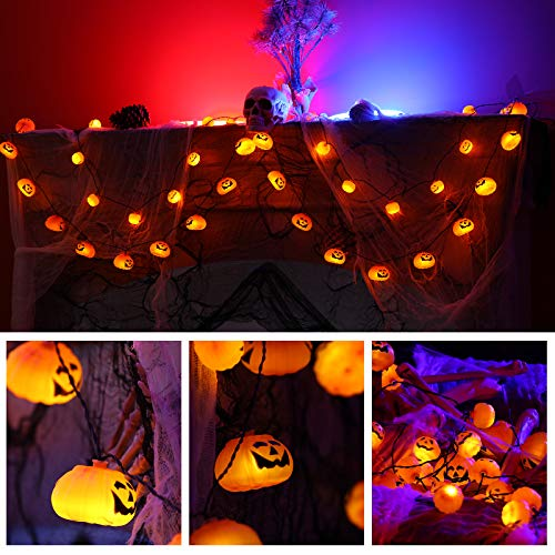 Novtech Halloween Pumpkin String Lights, LED Decoration Lights,Outdoor Decor,Holiday Decoration Lights Battery Operated Decorative String Lights for Outdoor & Indoor Halloween Party (Warm White)