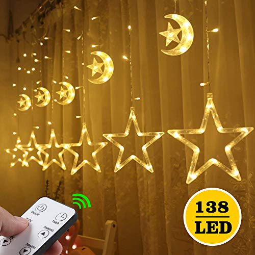 Curtain Lights - 138LEDs 12 Stars Moon