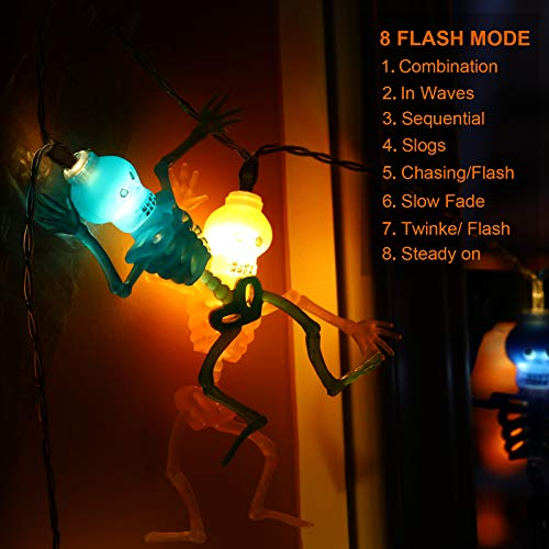 Novtech Halloween String Lights 11.5FT 20 LED Ghost Skeleton Lights - Batteries Powered Halloween Party Decoration Lights - Spooky Halloween Decorative Lights for Party Patio with 8Modes