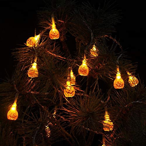 Novtech Halloween Pumpkin String Lights, LED Decoration Lights,Outdoor Decor,Holiday Decoration Lights Battery Operated Decorative String Lights for Outdoor & Indoor Halloween Party - Warm White