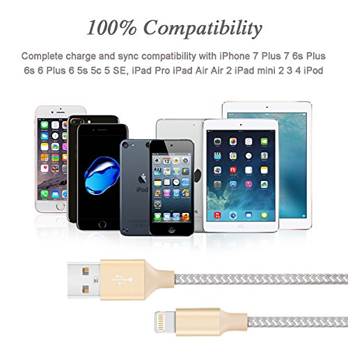 Lightning Cable - Quntis 3Pack 6ft Premium Lightning to USB A Charger Cable Compatible with iPhone Xs Max XR X 8 Plus 7 Plus 6 Plus 5s SE iPad Pro iPod Airpods and More - Gold