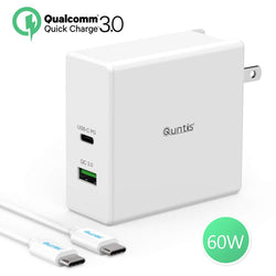 USB C Charger 60W - Quntis PD Charger (Power Delivery 3.0 + 18W Quick Charge 3.0 USB A Port + 5ft USB C to C Cable) - USB C Power Adapter for MacBook iPad Pro 2018 iPhone Samsung Galaxy S9 S8+ Huawei