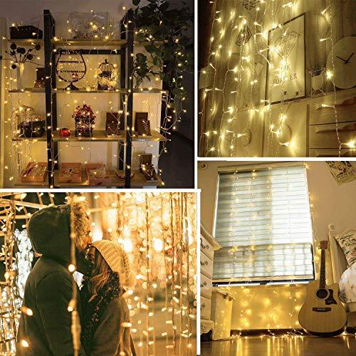 Quntis Christmas Curtain String Lights - 19.6FTx10FT 600 LEDs Window Icicle Fairy Lights 8 Modes Backdrop String Lighting for Wedding Party Home Bedroom Wall Decoration, UL588 Approved, Warm White