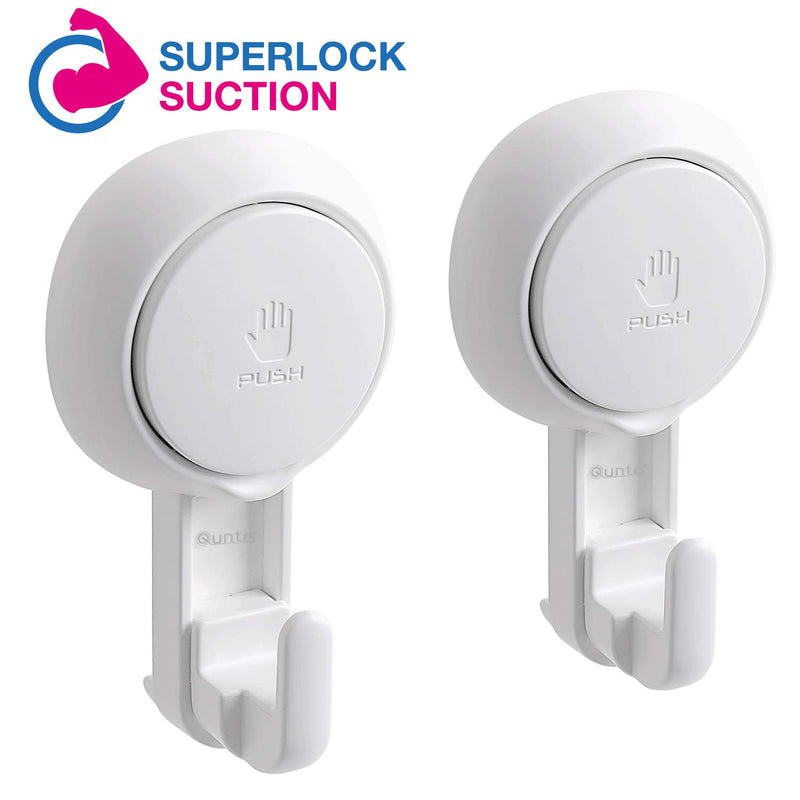 2 Pack Reusable Bathroom Wall Heavy Duty Vacuum Suction Cup Hooks
