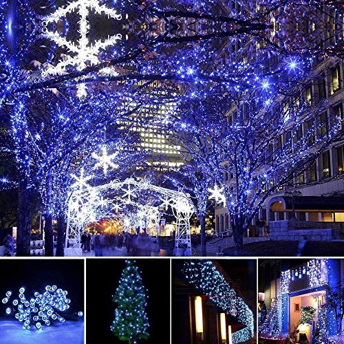 LED String Lights Battery Operated with Timer Function, 132FT 300 LED Waterproof Christmas Decoration Lights Blue and White Two Colour 8 Modes for Home Garden Wedding Party Xmas Tree, UL588 Approved