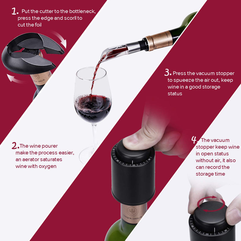 Electric Wine Bottle Opener - Quntis Automatic Corkscrew Wine Opener - Cordless Red Wine Cork Opener - Rechargeable Wine Opener with Foil Cutter Pourer Vacuum Stopper - Elegant Black