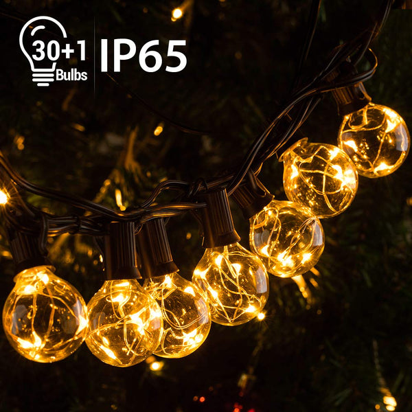 Quntis 39FT Outdoor G40 Globe String Lights, Waterproof 30 LED Bulbs String Lights, Patio Decorative Lights for Wedding Party Backyard Garden Balcony Halloween Christmas, UL588 Approved, Warm White