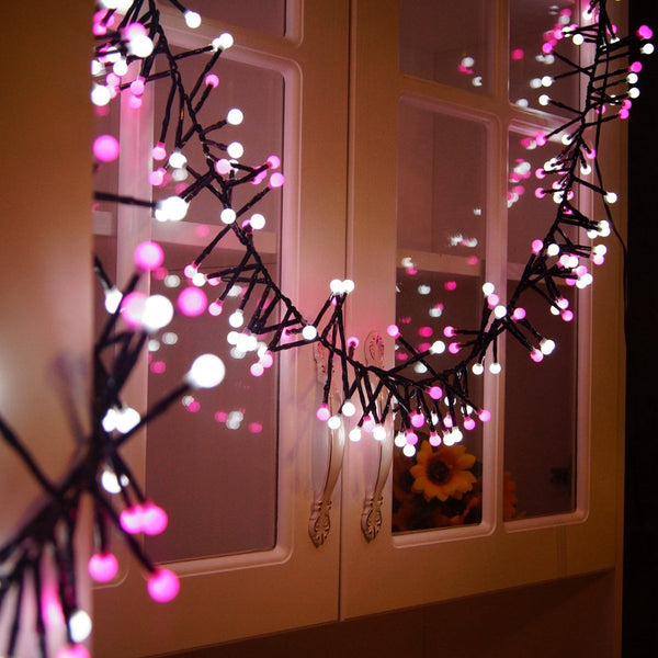 Avoalre Fairy Lights Festoon Lights, 3m 400 LEDs Mains Powered String Lights, Twinkle Festive Lighting, Tiny Micro Globe Lanterns, Home Christmas Halloween Decoration Waterproof, Pink & White