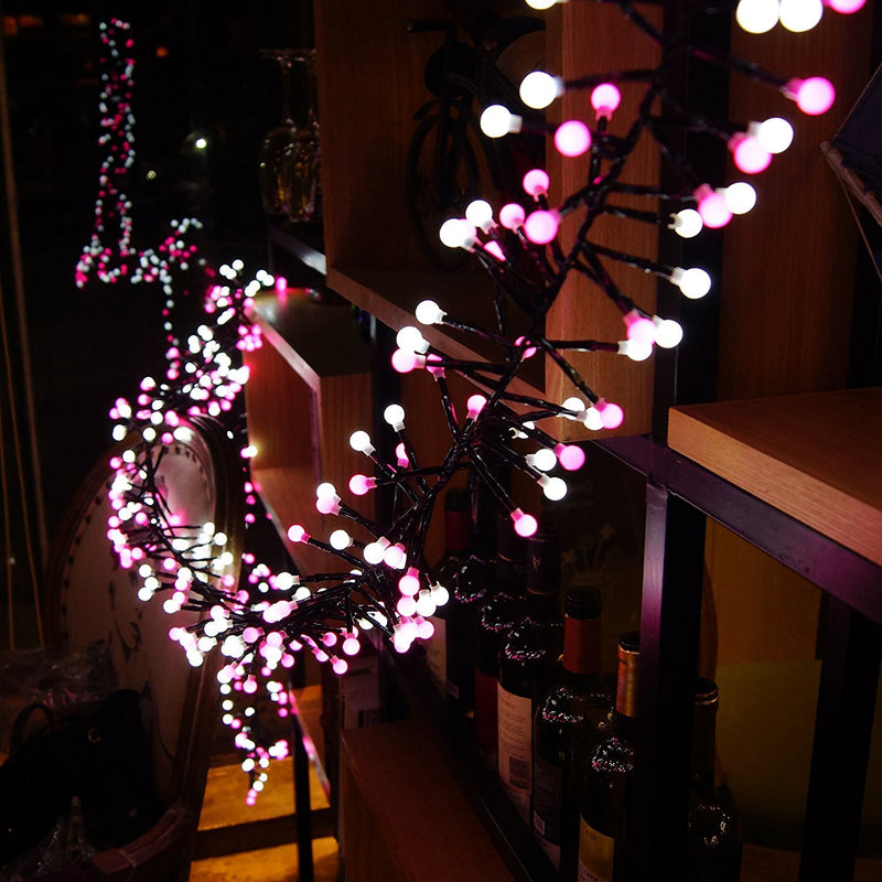 Quntis Christmas Fairy String Lights - 13FT 400 LEDs Waterproof Outdoor Indoor Valentines Day Globe Lights - Linkable and 8 Flash Modes for Wedding Party Backyard Bedroom Home Decoration, Pink&White