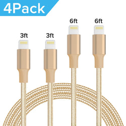 Quntis 4Pack 3FT 3FT 6FT 6FT Nylon Braided iphone Lightning Cable(Gold) , , Quntis- quntis-service