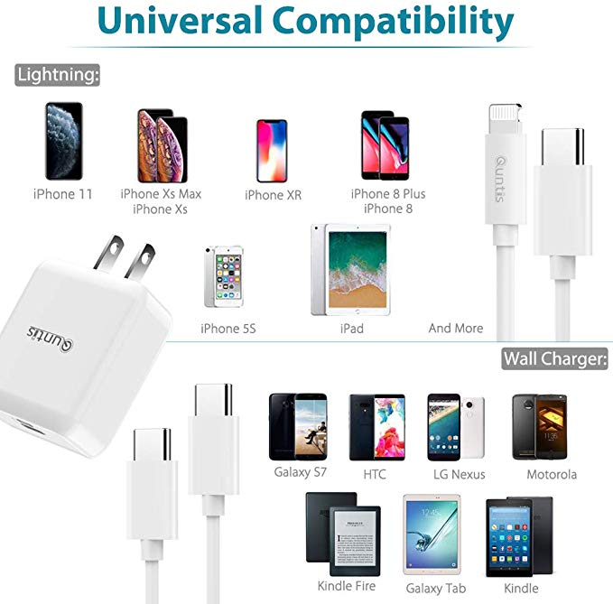 iPhone Fast Charger Apple Certified - Quntis USB C to Lightning Cable 6FT with USB C PD Wall Charger 18W Support Power Delivery for iPhone 11 Xs Max XR X 8 Plus iPad Pro [ iPhone 7 6 Plus 5S], White