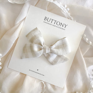 Gingham Bow - Natural