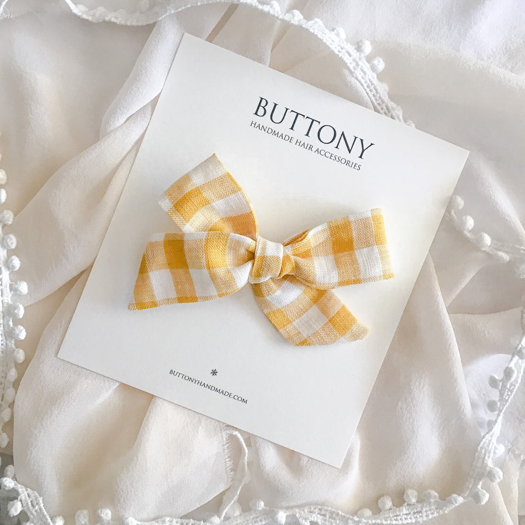 Gingham Bow - Canary