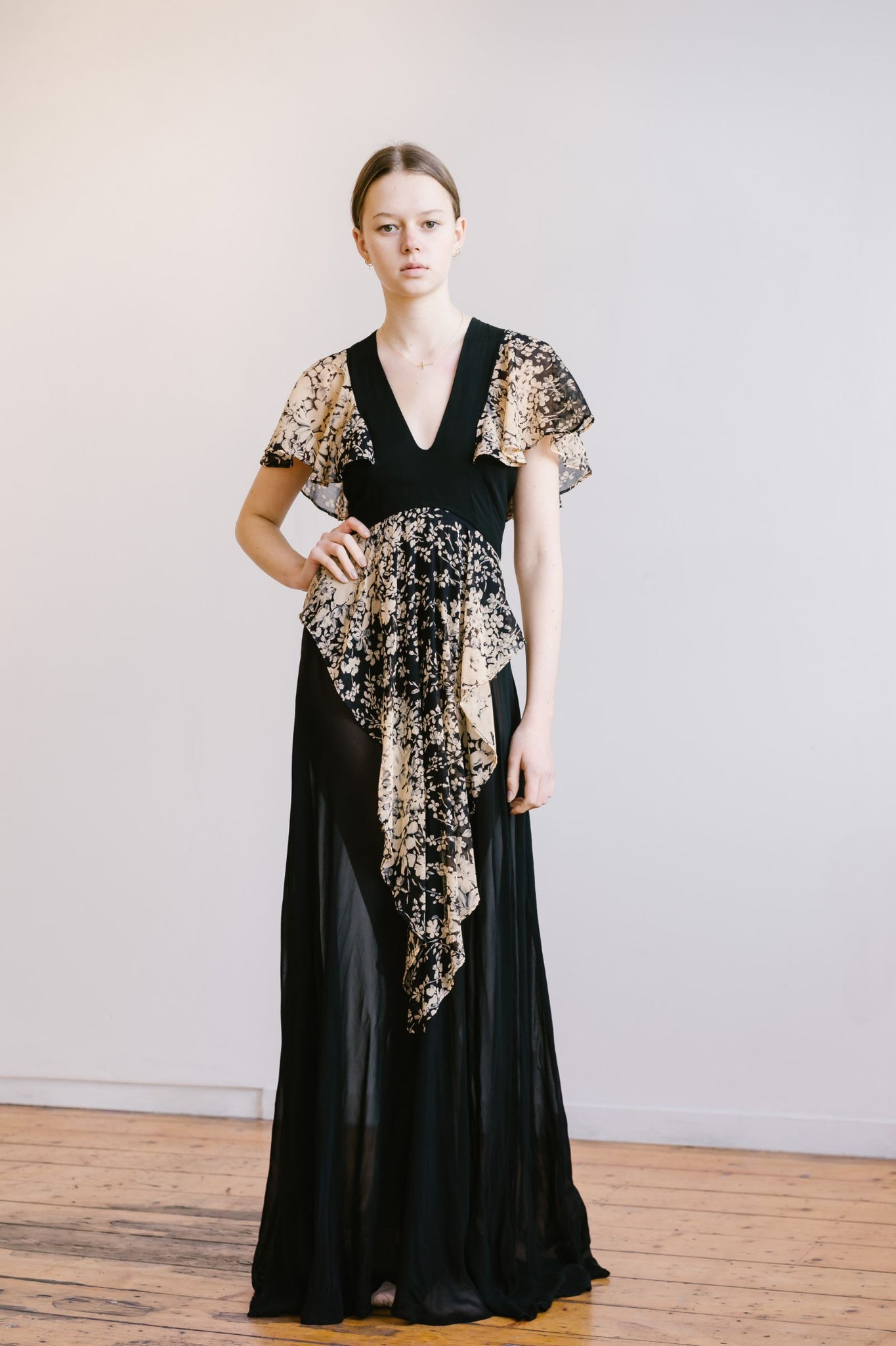 1970s floral chiffon gown