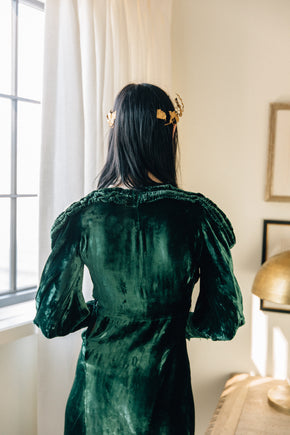 1930s emerald silk velvet gown
