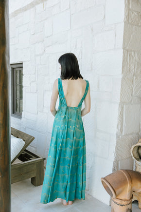1930s printed silk gown