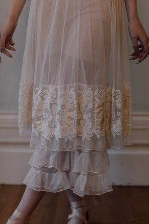 1900s tulle filet lace tea gown