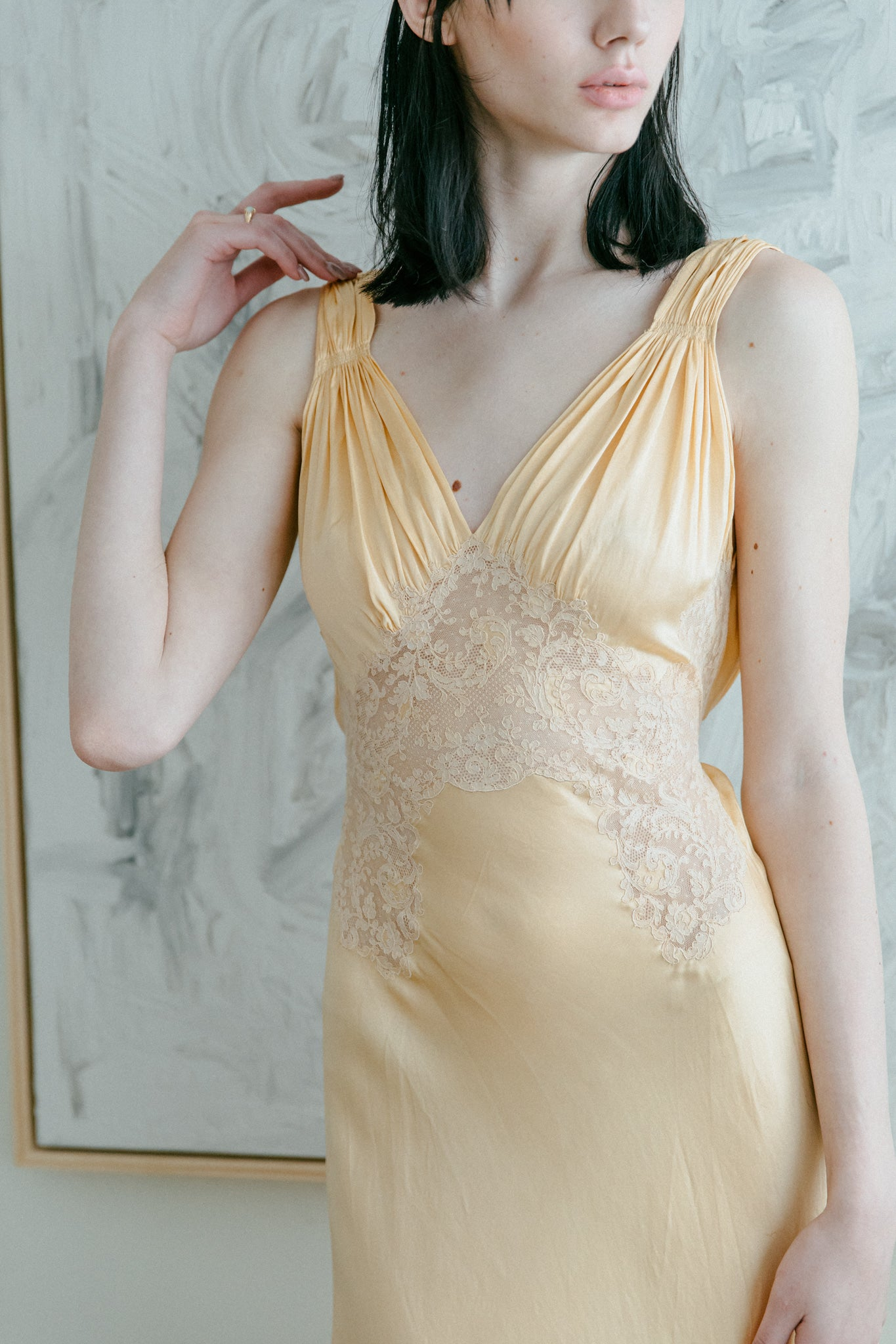 1930s silk lace slip gown