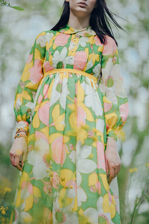 1970s Floral smocked maxi dress