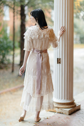 1910s silk tulle tea gown