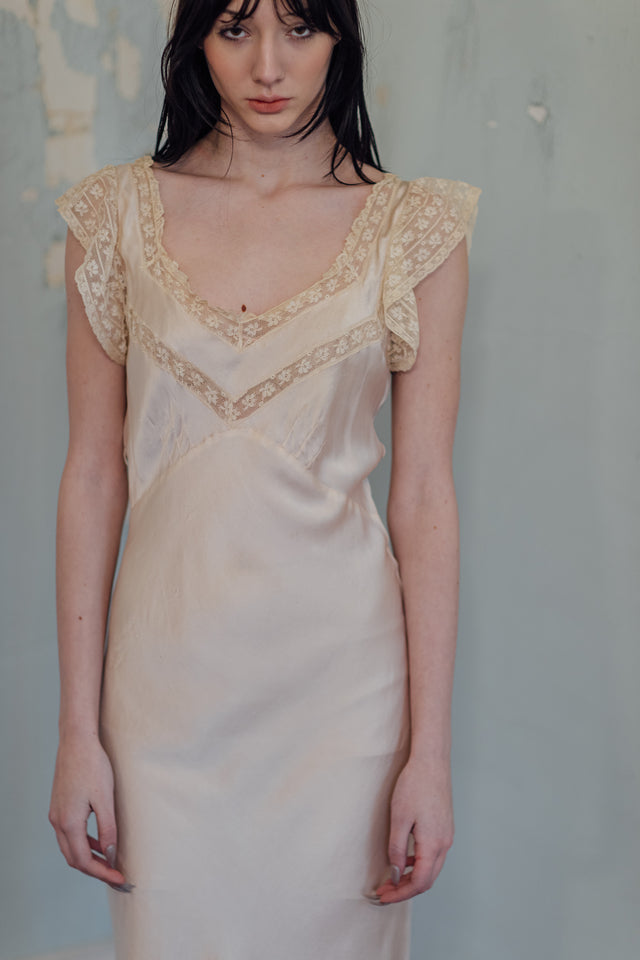 1930s silk lace slip dress