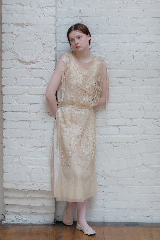 1920s Embroidered tulle gown