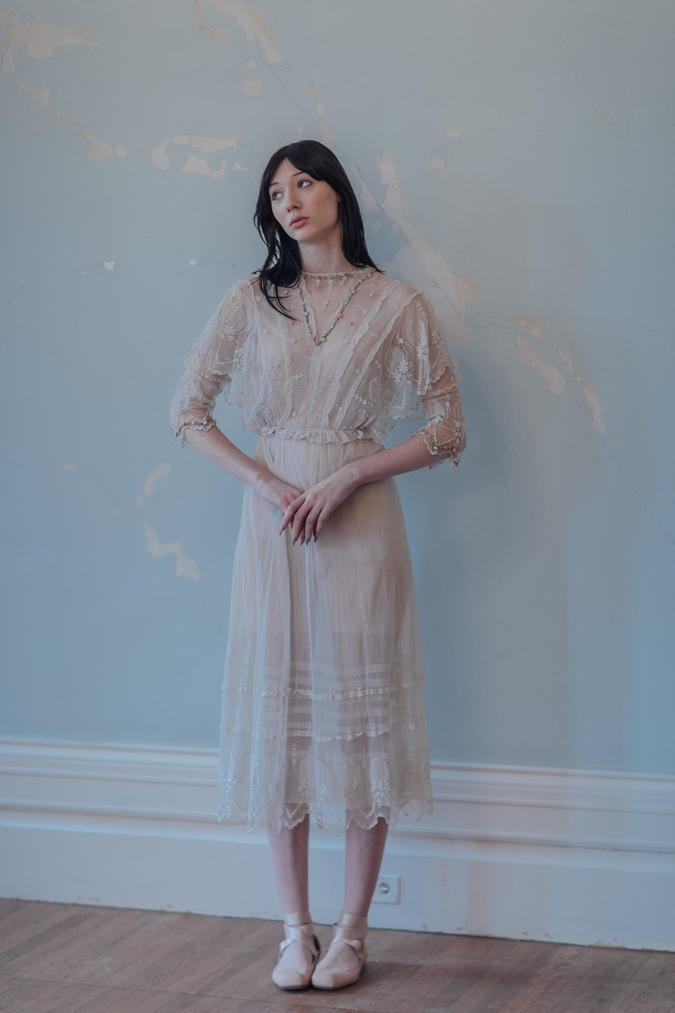 1900s embroidered net tea gown
